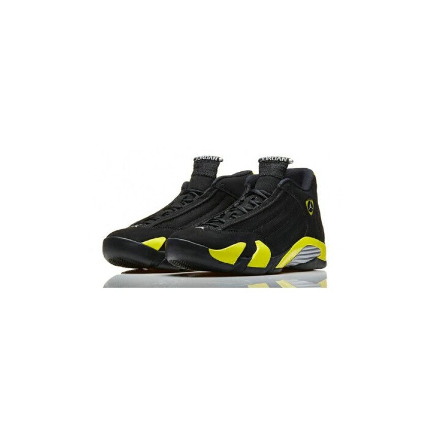 c5b1ed4c782 Authentic 487471-070 Air Jordan 14 Retro Black Vibrant Yellow-White ...